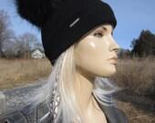 Real Fur Pom Pom Bobble Hat Beanies Black Rib Knit Cotton Watch Cap Skullcap Thick Warm Winter Hat Animal Ears A1845 -P