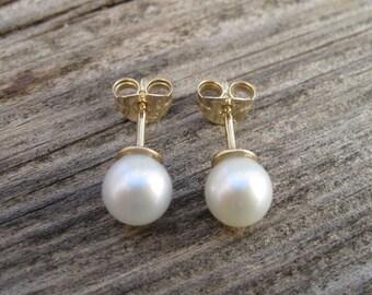 Gold Stud Pearl Earrings, Gold Pearl Earrings, Wedding Pearl Earrings, White Pearl, Earrings, Valentine gift