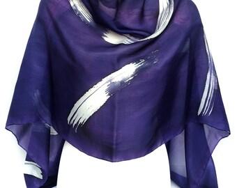 Purple silk scarf Eggplant scarf Purple scarf Hand painted silk scarf Silk headscarf Habotai scarf Designer scarf Unique handmade scarf