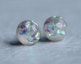 Opal Moon Earrings ... Moonstone Firestone Sparkle Milky Glass