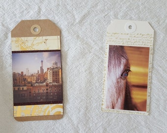 Tag, bookmark, or decorative these versatile custom made tags are approximately 2.5 x 5inches each & can be customized with your photos too