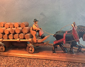 35 Barrel Beer Wagon - Vintage German Folk Art Driver and Two Horses - Black Forest Style - Hand Carved Anri Look Figures