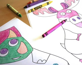 Animal Coloring Book Printable for Kids - Digital Download - 24 Animals to Color for Kids