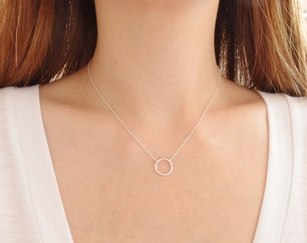 Silver Circle Necklace, Sterling Silver Ring Necklace, Geometric Necklace, Simple Dainty Necklace, Delicate Necklace, Layering Necklace