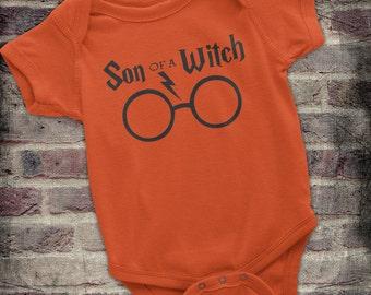 Halloween Harry Potter, Funny Harry Potter Onesie - Son of a Witch, Harry Potter Baby, Halloween Potter, Harry Potter Baby Boy Onesie