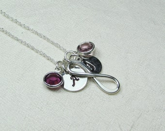 Initial Necklace Monogram Necklace Birthstone Mothers Necklace Personalized Infinity Necklace Gifts for Mom Necklace Personalized Jewelry