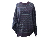 Vintage Barneys New York Earth Tone Geometric Men's Sweater, Size Large