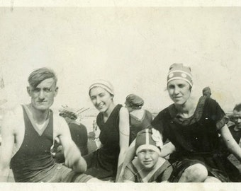 """Vintage Snapshot """"Sun Kissed Faces"""" Bathing Suit Style Swimsuit Fashion Looking at Camera Man Woman Girl Found Old Vernacular Picture - 146"""