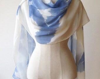 silk chiffon scarf, sky blue scarves, ink blot print