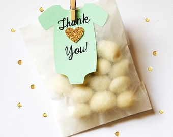 10 Gold Mint Baby Girl Party Favor 1st Birthday Favors Glassine Bags Thank You Favors Mint Gold Bodysuit Tags Mini Clothespins Baby Shower