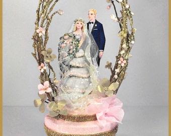 Vintage Garden Wedding Cake Topper, Keepsake Box in Blush Pink and Gold