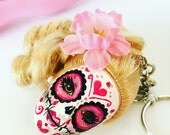 Sugar Skull Day of the Dead Doll Keychain I'm a Barbie Girl Dia de Los Muertos