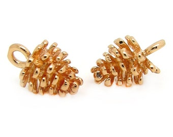 Gold Charms : 4 Brass Pine Cone Charms | Gold Pine Cone Pendants -- Lead & Cadmium Free 132-14.B16