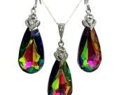 Rainbow Earrings, Watermelon Necklace, Kaleidoscope Earrings, Swarovski Crystal Bridesmaid Jewelry, Valentine Gift, Birthday Gift, ARIA