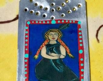 Little Crow- Native American Girl  - Mini Tin Retablo - Southwestern  - Ex Voto / MilagrO - Cathy DeLeRee