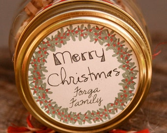 """Textured KRAFT Brown Labels. Set of 24, 2.5"""" Stickers. Personalized Christmas Stickers. Holiday Mason Jar. Homemade Vanilla Extract Labels."""