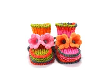 Baby Booties, Knitted with Crochet Bell Flowers - Pink, Green and Orange, 3 - 6 months