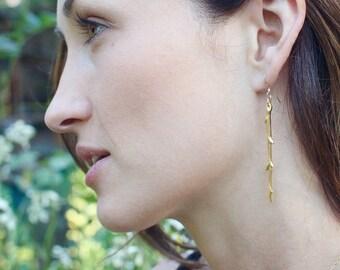 Twig Earrings - Dangle Earrings - Minimalist Jewelry - Boho Earrings - Nature Jewelry - Wedding Jewelry - Gift for Her