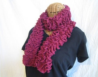 Simple Solid Red Wine Maroon ruffle scarf for women girls teens matching scrunchi