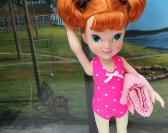 """Swimsuit, Towel, 16"""" Doll Clothes, Doll Clothes, Handmade to Fit Dolls Such as 16"""" Animator, Hot Pink and White Dots Swimsuit, Pink Towel"""