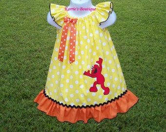 ELMO Dress / Yellow Polka Dot / Orange / Character / 123 Sesame Street / Newborn / Infant / Baby / Girl / Toddler / Custom Boutique Clothing