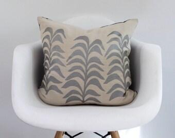 Botanical pillow cover handprinted in silver on natural ecru organic hemp 20x20