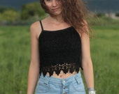 Vintage 90s Black Cropped Tank Top with Floral Lace Overlay