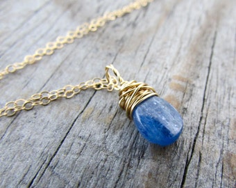 Kyanite Pendant necklace, small, simple, gold, wire wrapped gemstone pendant