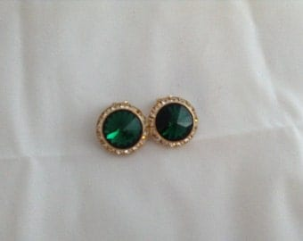 On Sale Bling Rhinestone and Emerald earrings clip on