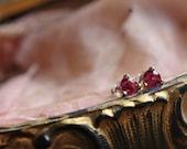 Small Ruby Earrings, Tiny Post Earrings, Small Gold Earrings, Ruby Stud Earrings, Ruby Post Earrings, Gold Stud Earrings, Martini Earrings.