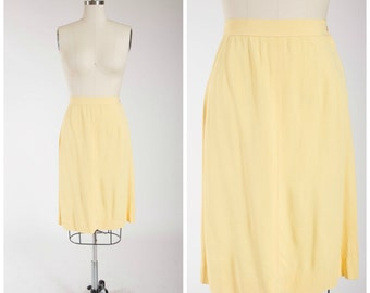 1940s Vintage Skirt • Come Home • Butter Yellow Rayon 40s Pencil Skirt Size Medium