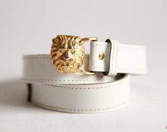 Vintage white Gold Lion Belt Designer Anne Klein size Medium