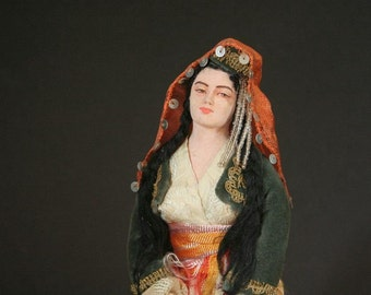 Turkish doll, Traditional bridal doll, Ethnic doll, handmade doll, collectible folk art doll