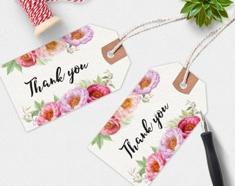 Thank you printable tags, handwritten tags, floral thank you tag, printable tags, favor tags, printable gift tags,  thankyou tags, peonies