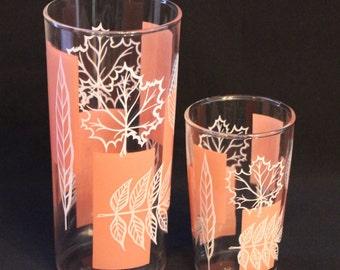 Set of 8 Pink & White Leaf Glasses