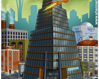 Drake Tower : Seattle (Shadowrun) - 11x14 Giclee Print