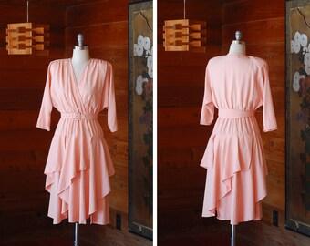 vintage pink rayon dress / size small medium