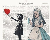 Alice in wonderland Art Alice Banksy Dictionary Art Street Art poster Print Illustration Art Wall Decor