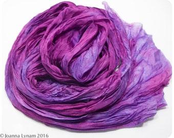 """Ruffled Silk Shawl. Hand painted silk scarf. 17""""x64"""" FLAT (0.5x1.6m). Handpainted silk scarves~Painted silk scarf. Painted silk scarves. #15"""