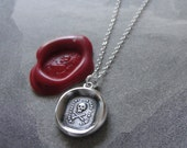 Wax Seal Necklace Skull - Fearless antique wax seal charm jewelry Memento Mori No Fear motto by RQP Studio
