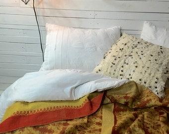 Kantha Throw, Indian Quilt, Bohemian Bedding, Boho Decor, Kantha Quilt, Gold, Brown