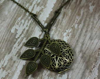 Tree Branch Essential Oil Diffuser Necklace- Tree Branch Aromatherapy Necklace- Grecian Tree Branch Necklace- Branch Necklace- Leaf Necklace