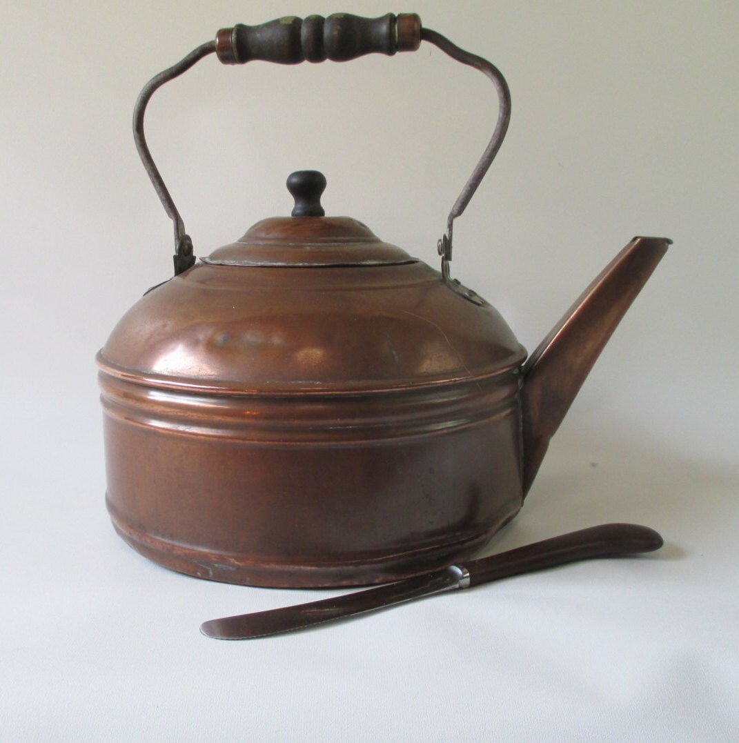 retro tea kettle copper tea kettle vintage large 5 quart liter ready to use 1949