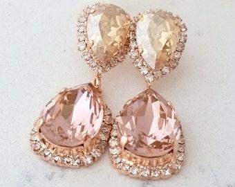 Blush Champagne Chandelier earrings,Morganite Bridal earrings,rose gold earring,Bridesmaids gift,Dangle earrings,Drop earrings,Rhinestone