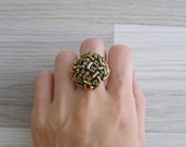 """20% Code """"JINGLE20"""" - Vintage 60's 'Sticks & Stones' Gold Dome Cluster Cocktail Ring"""
