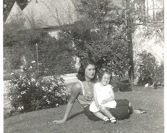 Vintage Snapshot - Pretty Young Mom Sitting on the Lawn - Found Original Photo - Shadow Of Photographer - Black & White Paper Ephemera
