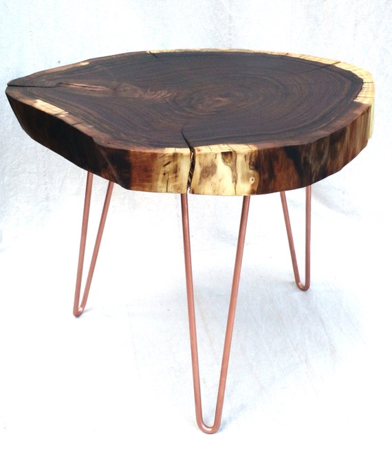 Round Wood Hairpin Coffee Table: Round Table Reclaimed Wood Walnut Natural Live By NorskValley