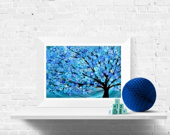 Blue Abstract Tree Fine Art Print - Giclee Print of Original Abstract Tree Painting - Blue Abstract Wall Art Print by Louise Mead