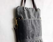 Listing for Misha / Pisgah Fold-Over Tote in Cement Grey with Brown Leather