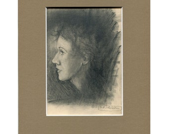 Vintage Original Pencil Sketch, Pencil Portrait of Woman, Original Portrait, Vintage Original Art, Charcoal Drawing